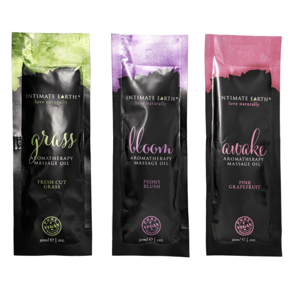 intimate earth massage oil sachet 3pack natural